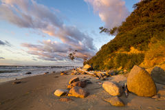 Beach and cliff in Wolin National Park in the light of the wonderful sunset Stock Photo