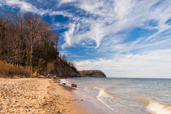 Beach and cliffs on the Chesapeake Bay. At Calvert Cliffs State Park, Maryland Royalty Free Stock Images