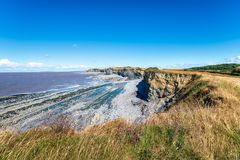 Kilve Beach in Somerset. The beach and cliffs at Kilve on the Somerset coast stock photo