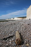 Beach cliffs scenic views. A stunning view across an English Channel beach in Sussex with high white cliffs and blue sky, driftwood and the Seven Sisters Stock Photo