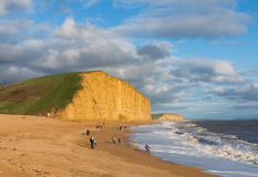 Beach and cliffs at West Bay Dorset in UK Royalty Free Stock Images