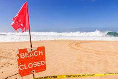 Beach Closed High Surf Royalty Free Stock Photography