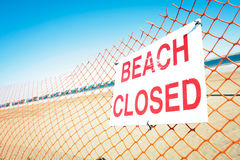 Beach Closed Sign. Sign posted to let beach-goers know that the beach is closed Royalty Free Stock Photography