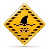 Beach Closed Sign. Vector Beach Closed Sign, Shark sighting sign isolated on white. EPS10 opacity Stock Images