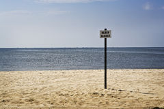 Beach Closed Sign, Gulf Coast Stock Photo
