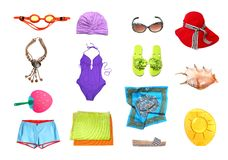 Beach clothes and accessories set. Isolated on white Royalty Free Stock Photography