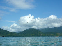 Beach, clouds, seagulls and mountains in tropical paradise Royalty Free Stock Image