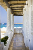 Beach club Malta, Europe. A tropical beach hut in Malta by the blue sea Royalty Free Stock Images
