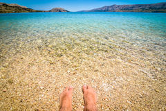 Beach in the coast of Adriatic Sea  island Pag or Hvar. Royalty Free Stock Photo