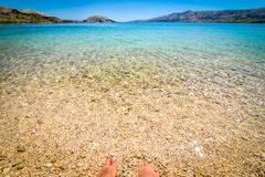 Beach in the coast of Adriatic Sea  island Pag or Hvar. Royalty Free Stock Image