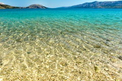 Beach in the coast of Adriatic Sea  island Pag or Hvar Royalty Free Stock Photo