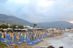Beach on the coast of the Aegean Sea and mountains. Stock Photo