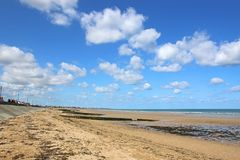 Beach on the coast of Normandy royalty free stock image