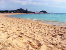 Beach on a coast of the southern sea. Coast of the southern sea, tropical beach with palm trees, Sanya, China Stock Image