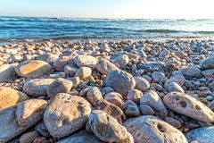 Beach coastal with pebbles Royalty Free Stock Photos