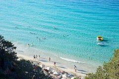 Beach coastline aerial drone people sand beautiful sun, Crete Greece stock photography