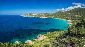 Beach and coastline at Cargese in Corsica Stock Photos