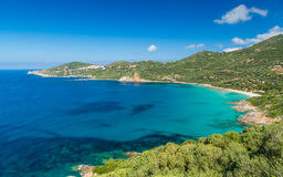 Beach and coastline at Cargese in Corsica Royalty Free Stock Image