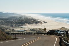 The beach and the coastline from a curve of Highway 101 off the coast of Oregon royalty free stock photography