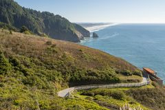 The beach and the coastline from a curve of Highway 101 off the coast of Oregon. View of the beach and the waterfront from a curve of Highway 101 off the coast royalty free stock photography