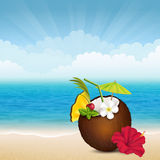 Beach cocktail in coconut Stock Images