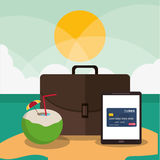 Beach cocktail suitcase tablet credit card icon.  graphic Royalty Free Stock Photo