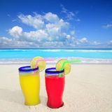 Beach cocktails in caribbean tropical sea Royalty Free Stock Photo