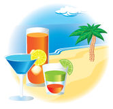 Beach with cocktails and palm tree Stock Photo