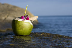 Beach and coconut. Gorgeous beach on the island of Koh Samui in Thailand  with a coconut drink Royalty Free Stock Images