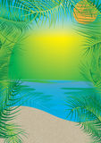 Beach Coconut Leaves Frame_eps Royalty Free Stock Photography
