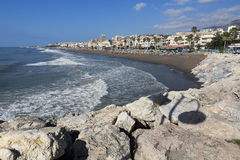 Beach, the Colonnade in the seaside town Terremolinos, Spain Stock Images
