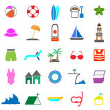 Beach color icons on white background Stock Photography
