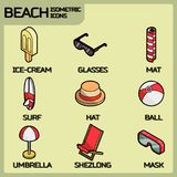 Beach color outline isometric icons Stock Photo