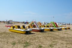 Beach and colorful boats Royalty Free Stock Photos