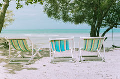 Beach colorful chair  vintage Royalty Free Stock Photo
