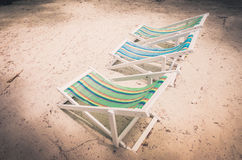 Beach colorful chair  vintage Stock Photos