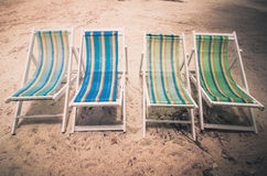 Beach colorful chair  vintage Royalty Free Stock Images