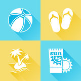 Beach colorful flat icons Royalty Free Stock Images