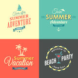 Beach colorful labels set Stock Photos