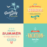 Beach colorful labels set Stock Images