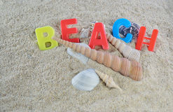 Beach colorful text Royalty Free Stock Photography