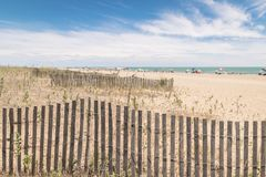 Beach with colorful umbrellas, wooden fences and wildlife. Stock Image