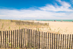Beach with colorful umbrellas, wooden fences and wildlife. Royalty Free Stock Photography
