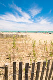 Beach with colorful umbrellas, wooden fences and wildlife. Stock Images