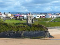 The Castle Green ruins, Ballybunion town and beach in Ireland stock photography
