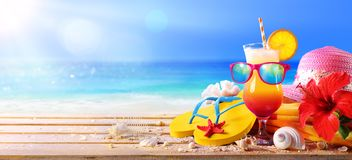 Beach Concept - Tequila Sunrise Cocktail. With Summer Accessories stock photos