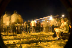 Beach concert comes to an end. A concert at the beach has ended, people are tired and going home Stock Images