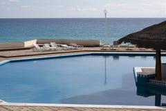 Beach Condo in Cancun. Swimming pool at a beach-side condo in Cancun, Mexico Stock Photo