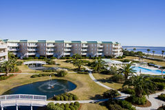 Beach Condos and Fountains Stock Images