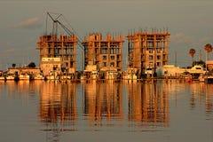 Beach Construction. Beach Condo Construction on Florida Gulf Coast in early morning light Royalty Free Stock Photos